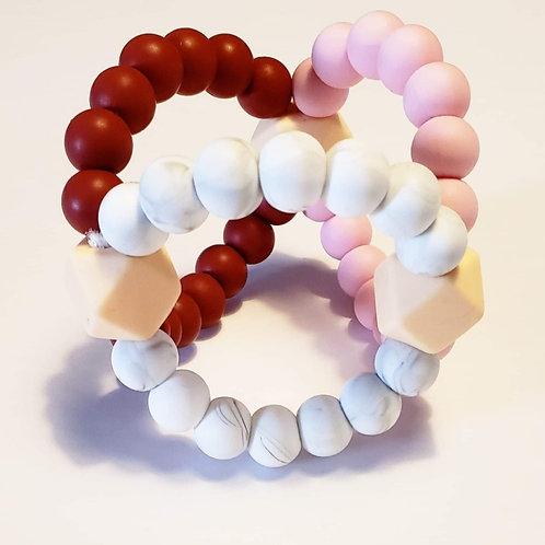 Tri-balle bourgogne, rose et blanc