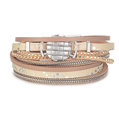 Bracelet beige et rond texturé