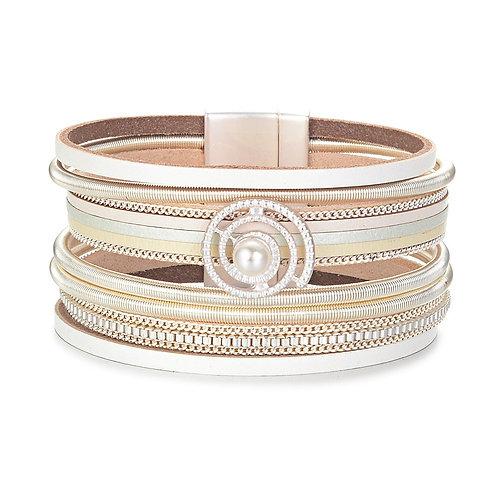 Bracelet beige, perle et spirale