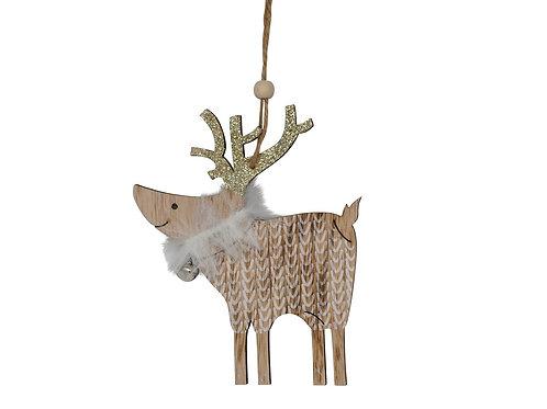 Décoration de Noël - Renne blanc en bois avec grelot