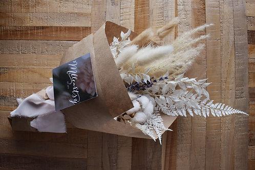 Bouquet de fleurs séchées - Crème et blanc