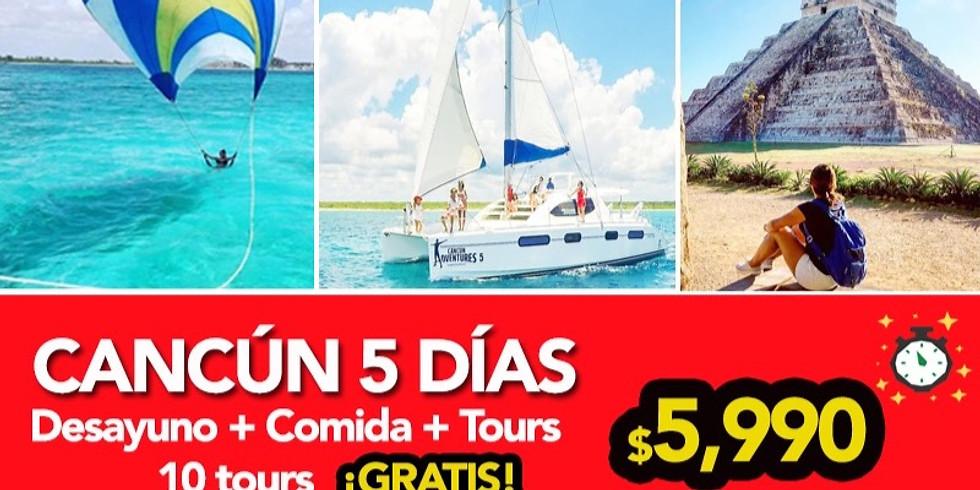 🔥 5 días en Cancun 10 tours gratis