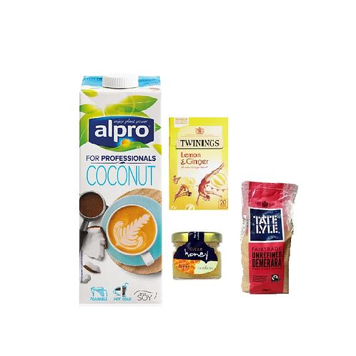 Healthy Food Selection 2- Coconut milk, honey, lemon and ginger tea, cane sugar