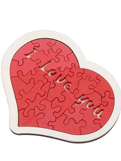 Wooden puzzle heart I Love You