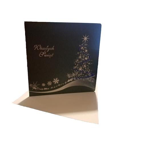 Kartka Bożonarodzeniowa choinka szarozielona
