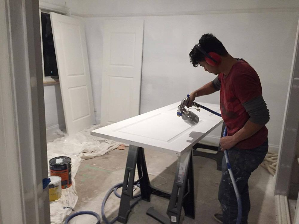 How we used her room during the renovation - a spray booth!