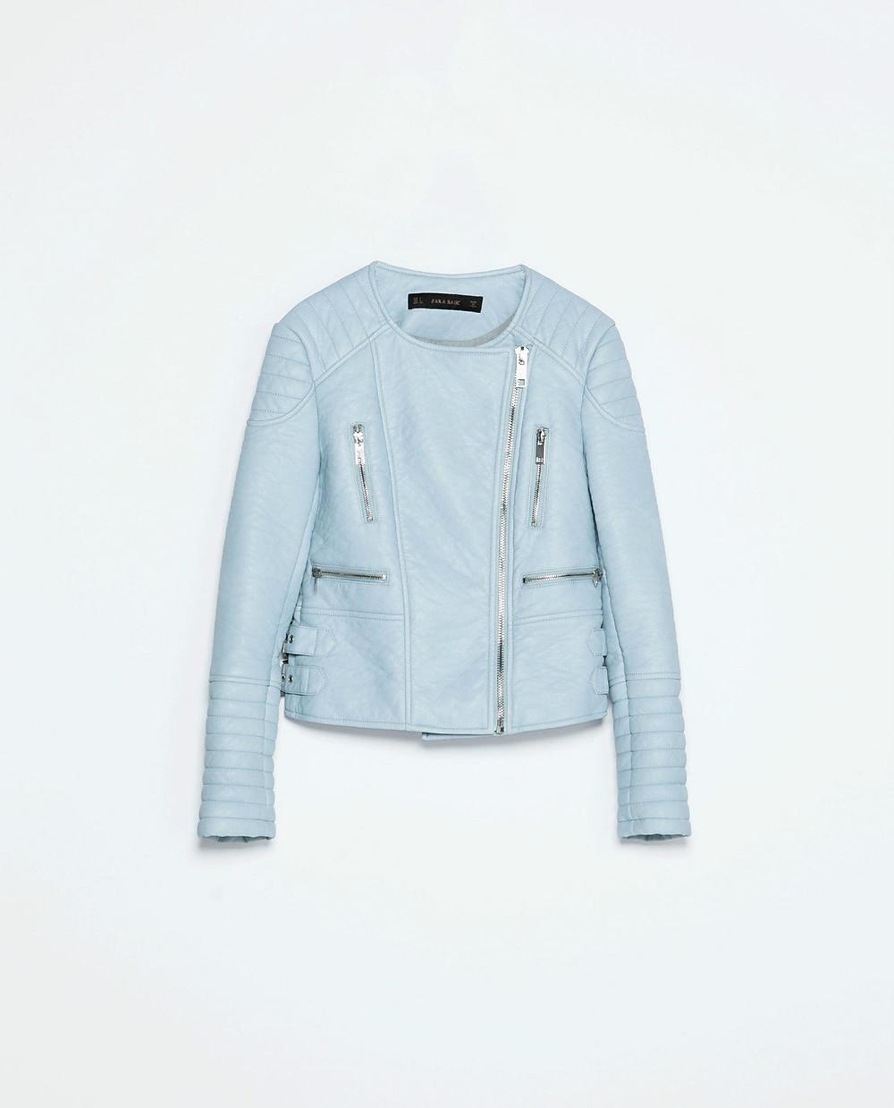zara pastel blue biker jacket