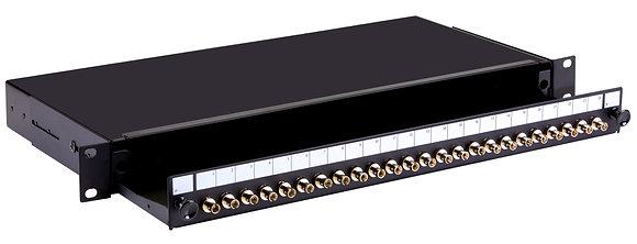 1U Black Sliding Patch Panel - up to 24 fibres ST