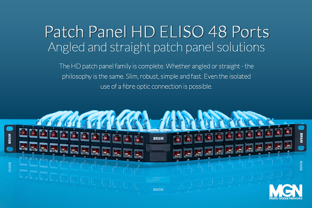 Patch Panel HD ELISO 48 Ports, angled and straight patch panel solutions