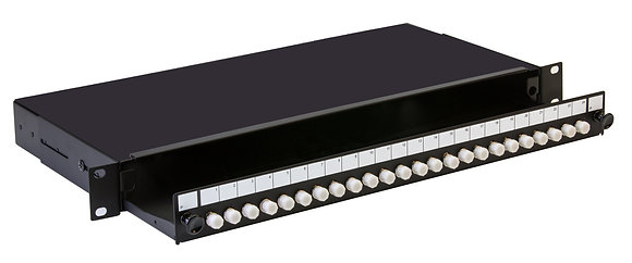 1U Black Sliding Patch Panel - up to 24 fibres FC
