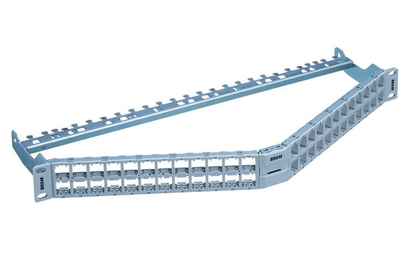 "19"" 1U Patch Panel HD ELISO angled 48-Port/s, grey, empty - P/N 854760 