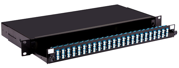1U Black Sliding Patch Panel - up to 96 fibres LC - Singlemode