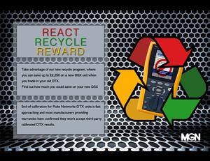 React, Recycle, Reward. Fluke DTX DSX recycle program, Matrix Global Networks