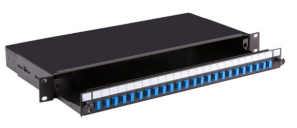 1U Black Sliding Patch Panel - up to 24 fibres SC Simplex - Singlemode