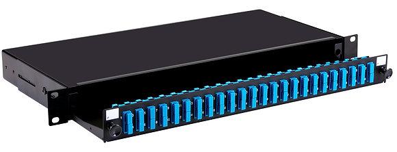 1U Black Sliding Patch Panel - up to 48 fibres SC - Singlemode
