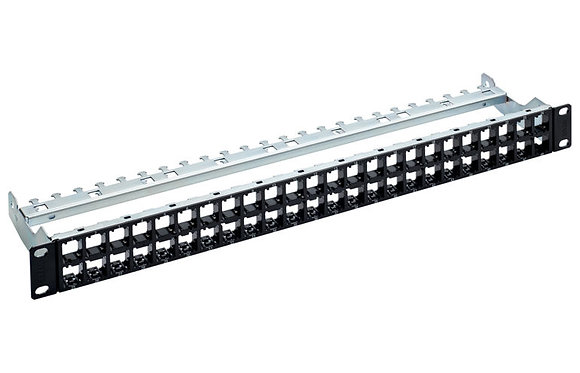 "19"" 1U Patch Panel HD EL ISO 48-Port/s, black, empty - P/N 837065"
