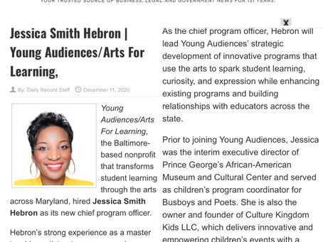 Dreams Do Come True! I got a new job as the Chief Program Officer of Young Audiences of Maryland !