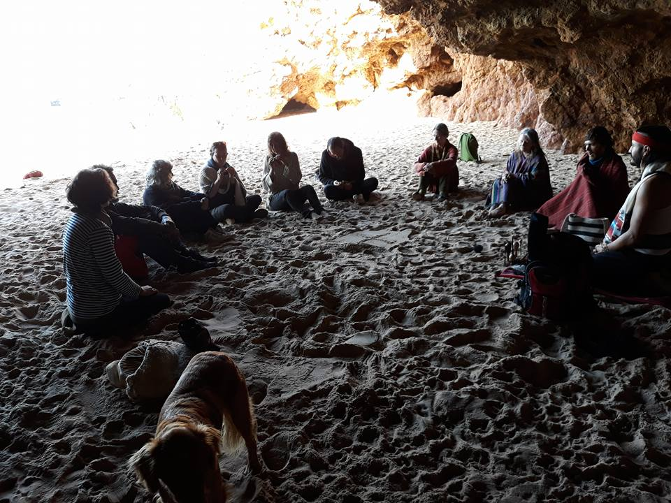 Herbal path beach cave ceremony