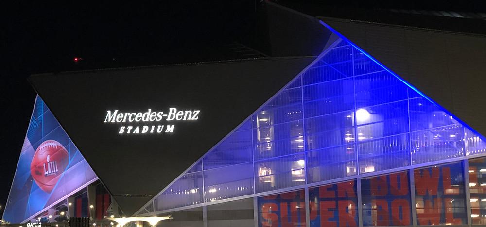 Mercedes Benz Stadium dressed for Super Bowl LIII