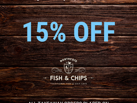 January special - 15% off take away orders!