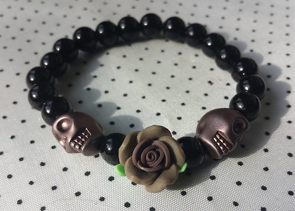 Bracelet Skull/flower taupe