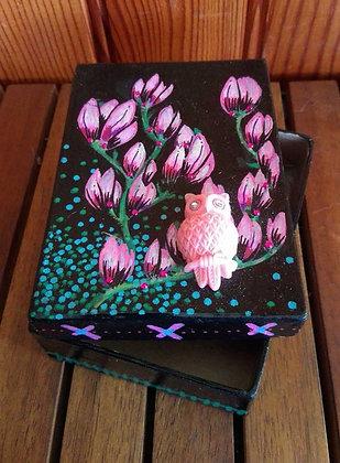 Boîte Magnolias et hibou