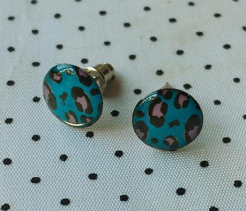 Boucles d'oreilles puces Léopard bleues