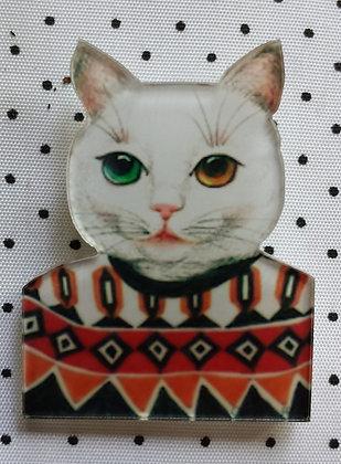 Broche chat à pull moche et yeux bi color
