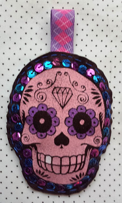 Porte-clés Skull rose/brun