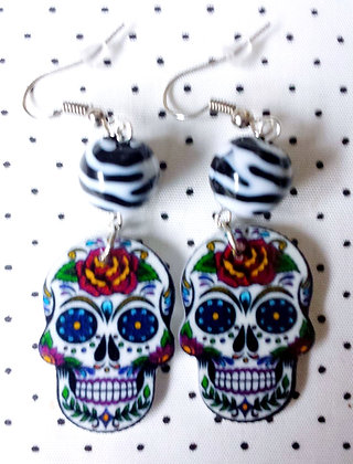 BO mexican skull zèbre blanc