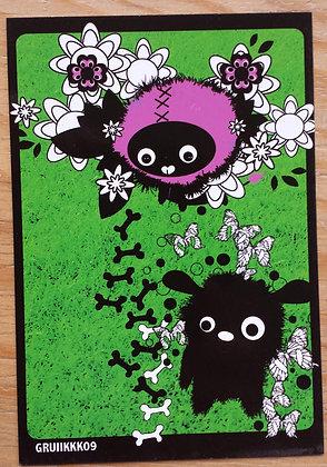 """Carte postale """"Chien noir"""""""