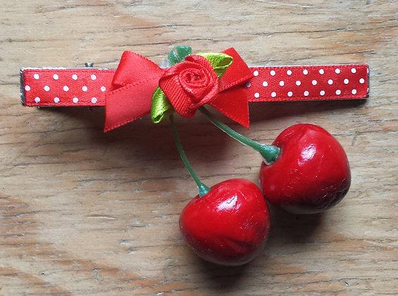 Barrette cerises rouge/noeud rouge