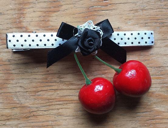 Barrette cerises blancc/noeud noir