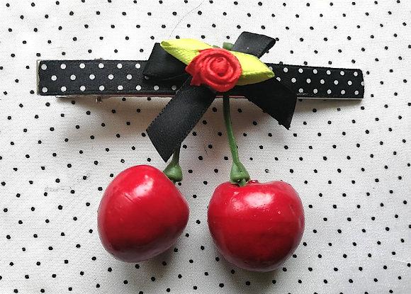 Barrette cerises rouge/noeud noir rouge