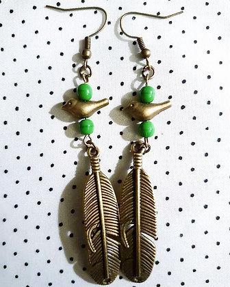 """Boucles d'oreilles """"green birds"""""""