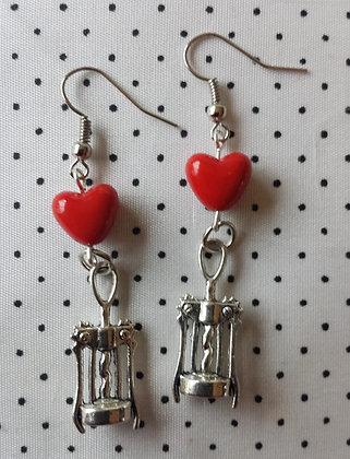 """Boucles d'oreilles """"Ouvre bouteilles"""" coeur"""