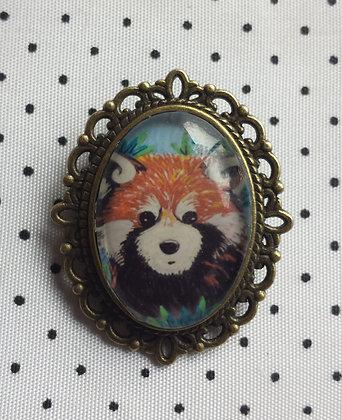 "Broche camée ""Panda roux"""