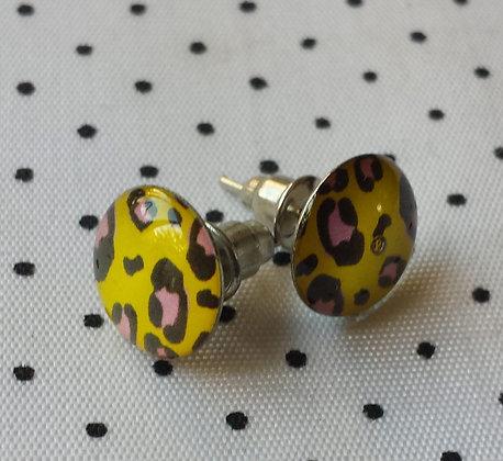 Boucles d'oreilles puces Léopard jaunes