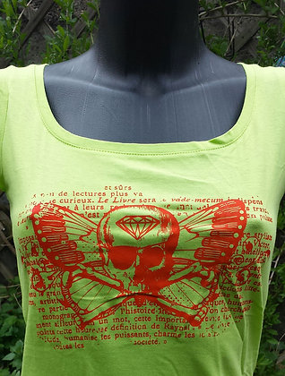 T-shirt Pirate/skull vert/orange