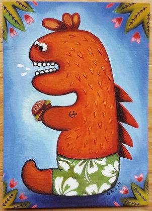 """Carte postale """"Dino Burger"""""""