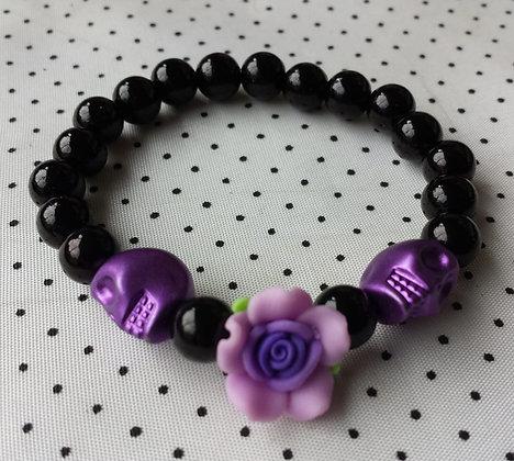 Bracelet Skull/flower violet