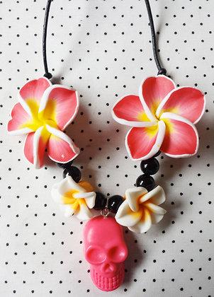 Collier Hawaii Skull Orange/rose