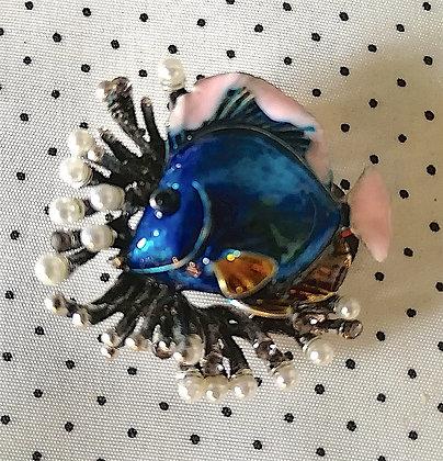 Broche Poisson bleu
