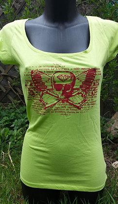 T-shirt Pirate/skull vert/framboise