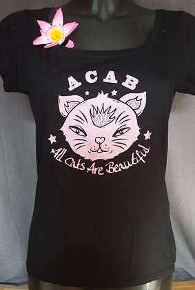 """T-Shirt femme """"All cats are.."""" rose métallisé"""
