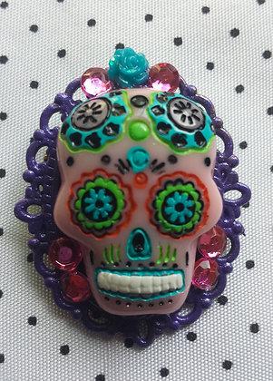 Broche Mexican Skull violette 1