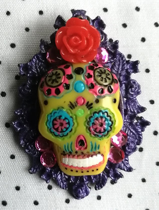 """Broche """"Mexican Skull"""" violette"""