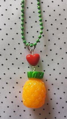 "collier ""Ananas et coeur"""