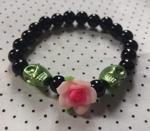 Bracelet Skull/flower rose/vert