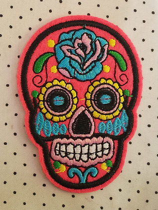 Patch Mexican Skull Rose flash